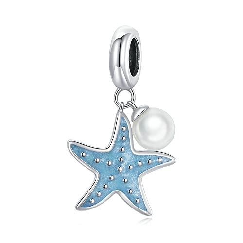 SANHUA Colgante De Esmalte Azul con Cuentas De Estrella De Mar De Joyería Pequeña De Plata Esterlina S925 Adecuado para Collar De Pulsera Original De Mujer