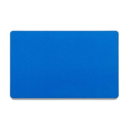 Bastex Pack of 60 Blue Metal Cards Blanks for Business Card Engraving. Blank, Aluminum and Thin Credit Card Sized Cards for Laser Engraving DIY Gift Cards (Blue)