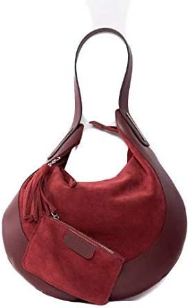 Italian Burgundy Suede and Leather Shoulder Bag By Vittoria Pacini