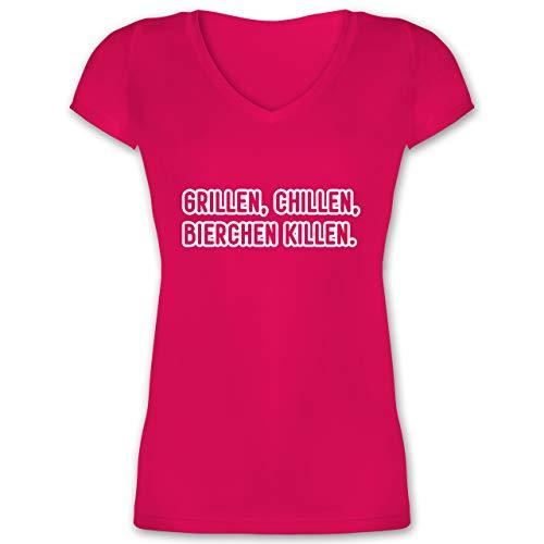 Grill - Grillen, chillen, Bierchen Killen - XL - Fuchsia - Bier - XO1525 - Damen T-Shirt mit V-Ausschnitt