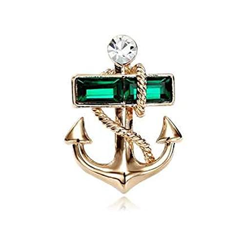 JSJJAQW Broche Broche élégant brouette d'ancrage d'or Alliage d'alliage Costume Masculin Couleur Broche Maille de Mode (Metal Color : Green)