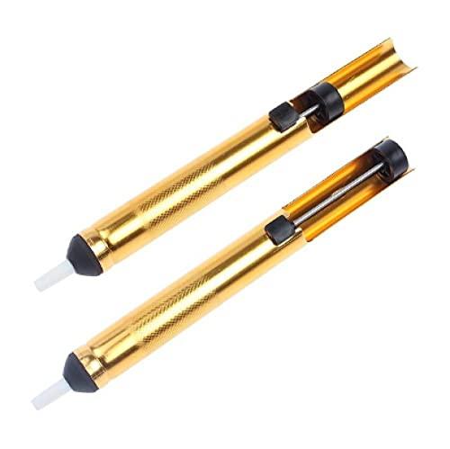 1x alluminio metallo dissaldante pompa aspirazione stagno pistola saldatura ventosa penna rimozione vuoto saldatore dissaldante strumento di saldatura a mano-Oro