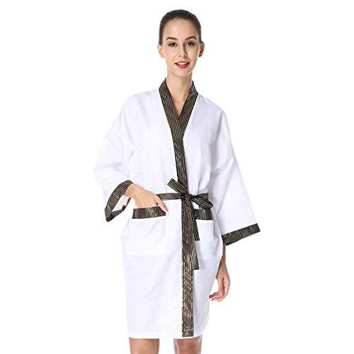 Pinji - Vestidos de Peluquería para Salón, Bata de Masaje en el SPA Bata de Kimono de Salón para Salón de Belleza Uniforme de Cliente de Moda Blanco