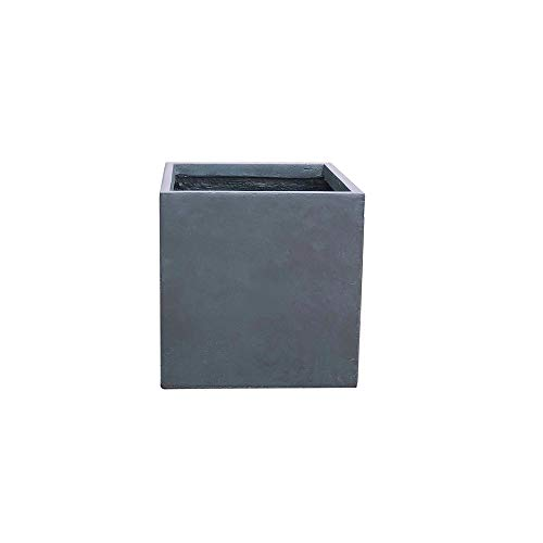 Kante RF0001C-C60121 Lightweight Concrete Modern Square Outdoor Planter, Charcoal