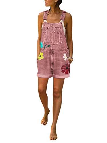 ORANDESIGNE Peto Vaquero para Mujer Mono Vaquero con Estampado de Moda con Bolsillo Vaqueros Largos Casual pantalón Denim Largo Slim Salvajes Jeans de Mezclilla D Rosa 38