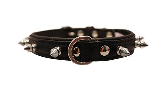 "Rotterdam Spiked Dog Collar by Angel. 16"" X 3/4"", Midnight Black"