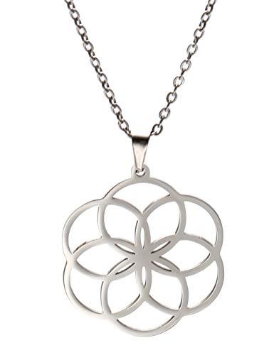 VASSAGO Collar de acero inoxidable con colgante de semilla de vida de mandala, cábala, geometría sagrada, amuleto, joyería para mujeres, hombres y adolescentes