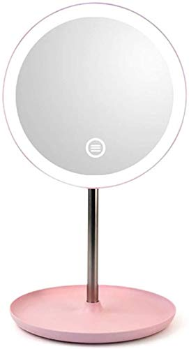 Espejos Tocador Maquillaje Espejo LED Maquillaje iluminado Botón Táctil Ajustable Luz Portátil Portátil Dual Power Fuente de alimentación Tablero Iluminado Espejos Cosméticos para Cuarto de baño. LQHZ