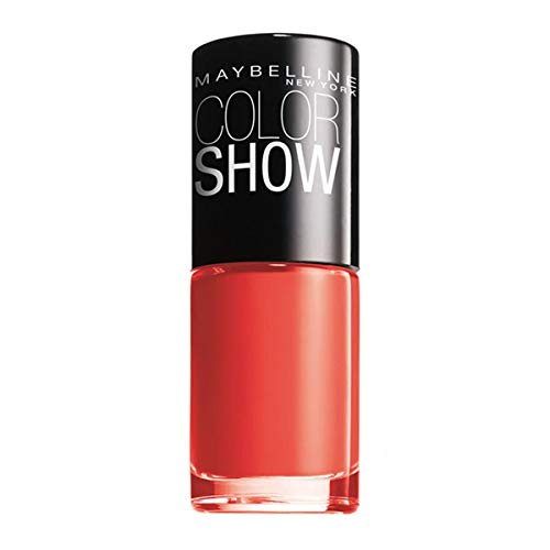 Maybelline New York Make-Up Nailpolish Color Show Nagellack Urban Coral / Ultra glänzender Farblack in strahlendem Coral 1 x 7 ml