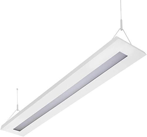 ELG Leuchten LED Pendelleuchte 64 Watt COB 4000K 6000lm 160cm Mikroprismatische Abdeckung direkter/indirekter Lichtanteil Büroleuchte Arbeitsplatzleuchte Schreibtischleuchte Hängeleuchte Designleuchte