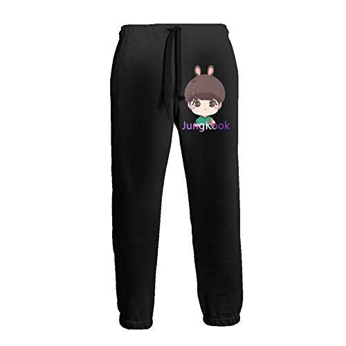 BTS Jungkook Rabbit Sweatpants Man's Long Pants with Pockets Casual Drawstring Waist Leggings White