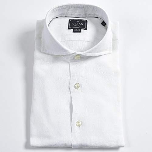 [オリアン] ドレスシャツ ホリゾンタルカラー スリム SLIM FIT 長袖 メンズ 麻 リネン リーフ 織柄 ホワイト 白【43】【並行輸入品】