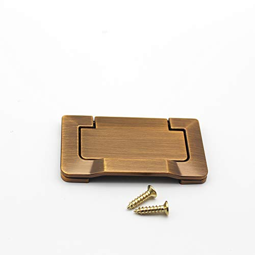 Recessed Zinc Alloy Pocket Doors Drawer Handle Flush Ring Pull,Hidden Concealed Screws for Cabinets, Closet, Drawers Golden 1 Piece