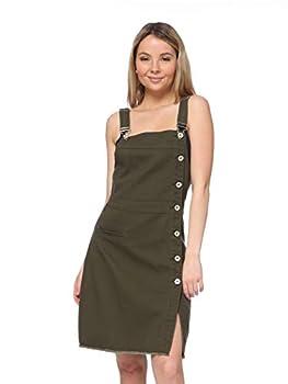 Anna-Kaci Women s Adjustable Strap Pencil Bodycon Midi Suspender Denim Skirt Olive Green Large