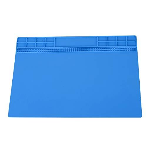 Tosuny warmte-isolatiepad voor soldeerboutstation, magnetische silicone pad voor warmte-isolatie voor mobiele telefoon, laptop, computer 13,8 inch x 9,8 inch, donkerblauw
