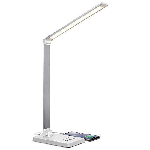 vitutech LED Schreibtischlampe, Dimmbare Tischleuchte 5 Farb 10 Helligkeitsstufen, Lampenarm einstellbar für Aufladung des Smartphones, Tischlampe Augenschutz Touchfeldbedienung ideal für Leser, Büro