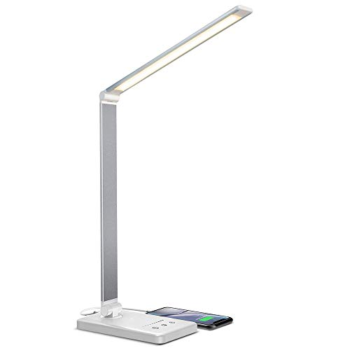 vitutech Lámpara Escritorio LED, 5 Modos,10 Niveles de Brillo, Puede ser cronometrado, Función de Memoria Lámparas de Mesa USB con Diseño Giratorio/Control Táctil Puede cargar el teléfono inteligente