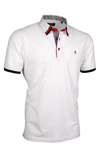 Premium-Poloshirt von Giorgio Capone, einzigartiger Hemdkragen, Pique-Stoff 100% Baumwolle, weiß, Regular Fit (L)