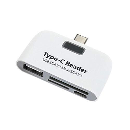 LRJBFC Tipo C OTG Station Adaptador USB C Adaptador Multifuncional TF SD Lector de Tarjetas de HUB SD Lector de Android con Fuente de alimentación Cargando USB (Color : White)