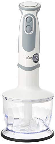 Braun Minipimer 5200 - Batidora de Mano, 1000 W, 21 Velocidades y Función Turbo, Campana Anti-salpicaduras, Powerbell Plus, Easy-Click, Incluye Vaso Medidor de 600 ml, Color Blanco