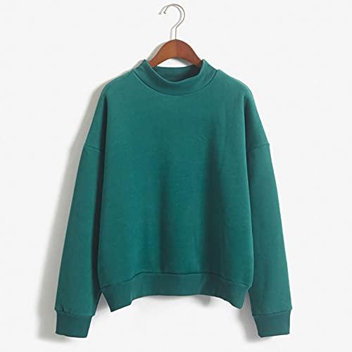 Suéteres para Mujer Jersey Ligero de Manga Larga con Cuello Redondo de Color sólido de otoño XXL F