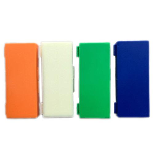 50-Place Microslide Slide Microscope Box Colors, Blue, Green, Orange, White(Pack of 4)