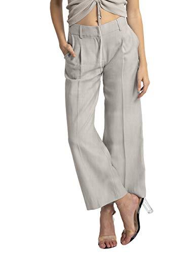 APART Damen Leinenhose mit breitem Formbund, hellgrau, 40