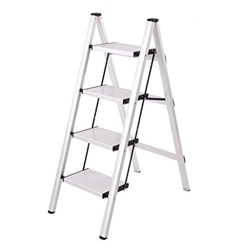4-Paso Escalera de Aluminio, escaleras de Tijera Plegable, Ligero Cocina Taburete de Paso, Escalera Multiusos, con peldaños Antideslizantes, 330lbs Capacidad (Color : White)