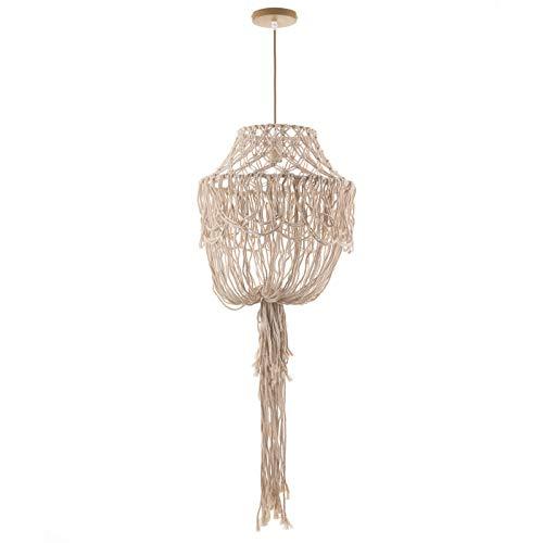 ONLI - Lampadario in corda color avorio chiaro. Stile rustico, vintage, etnico