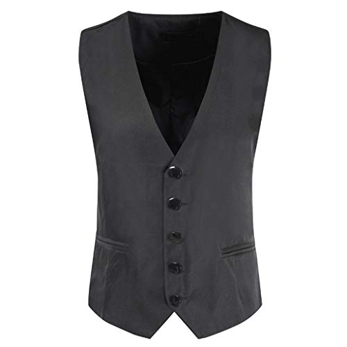 STRIR Elegante Chaleco Hombre Casual Negocio Ceremonia Boda Vestir Slim Fit Traje Blazers Sin Mangas (L, Gris)