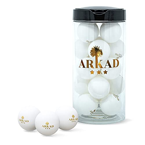 Arkad 20 Premium Tischtennisbälle • 3 Stern Ping Pong Bälle [Smarte Packung] • Tischtennisball mit exzellenten Spieleigenschaften • Profi Tischtennisbälle weiß mit Gold-Logo