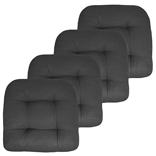 Sweet Home Collection Patio Cushions Outdoor Chair Pads Premium Comfortable Thick Fiber Fill Tufted 19' x 19' Seat Cover, 4 Pack, Charcoal