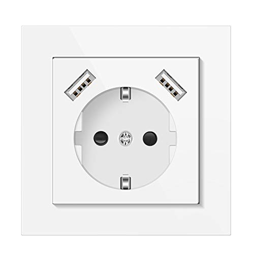Altopbum Enchufe de Pared con USB Max. 3,4A Schuko Toma de Corriente Pared Enchufe USB Superficie para Smartphone, MP3