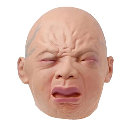 duhe189014 Llanto Realista Máscara De Bebé Cabeza Llena Llanto Máscara Facial Pelucas Halloween Bar Room Casa Embrujada Máscara De Terror Agreeable