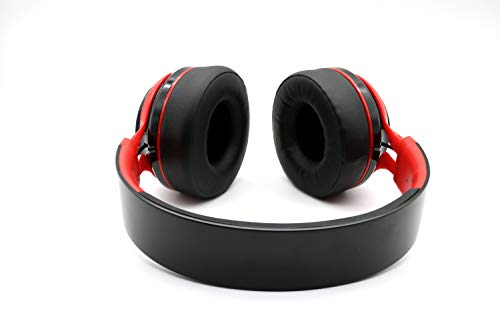 PowerLocus P3 Bluetooth Headphones Over-Ear, [40h Playtime, Bluetooth 5.0] Wireless Hi-Fi Stereo Headphone, Foldable with Mic, Deep Bass, Wired Mode for Cell Phones/Laptop/PC/TV (Black/Red) 8