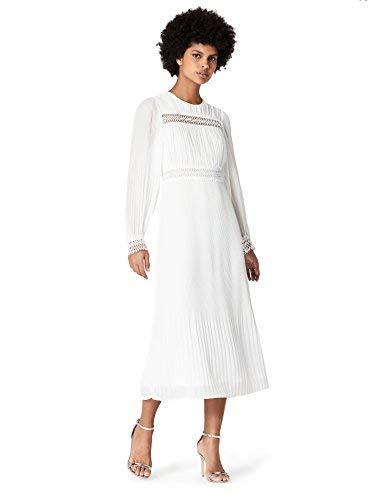 Marchio Amazon - TRUTH & FABLE Abito da donna in chiffon plissettato pieghettato, Avorio (Off White...