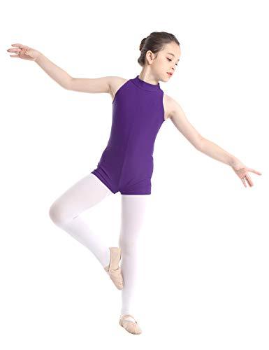 iixpin Mono Clásico de Gimnasia Mailot de Danza Ballet Body sin Manga con Cremallera Trasera Leotardo de Patinaje Jumpsuit Ropa Deportivo de Gym Fitness Ejercicio Morado 3-4 Años