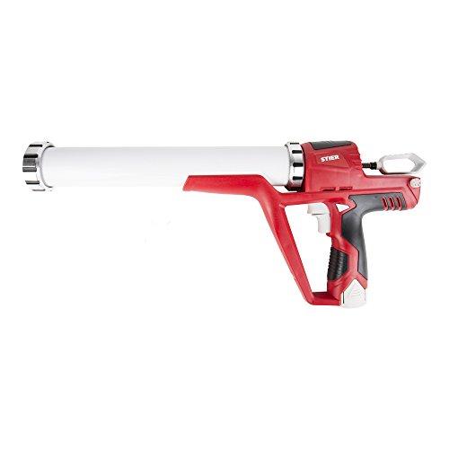 STIER Akku-Kartuschenpistole, 3800 N, Kartuschenpresse für 400/600 / 310 ml, inkl. 2 x 12 V Akkus, mit Ladegerät, Silikonspritze für Profis, Ideal zum Aufbringen von Silikon, Montagekleber, Acryl