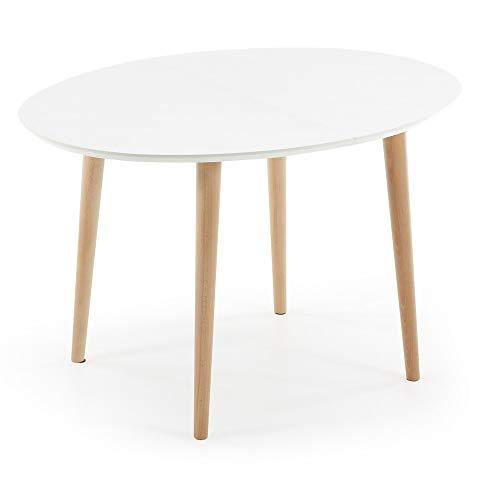 Kave Home - Mesa Extensible de Comedor Blanca Oqui Ovalada 120 (200) x 90 cm de melamina y Madera de Haya
