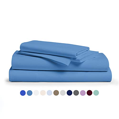 Comfy Sheets 100% Egyptian Cotton King Sheet Set 1000 Thread Count 4 Pc King Deep Blue Bed Sheet with Pillowcases, Hotel Quality Fits Mattress Up to 18'' Deep Pocket