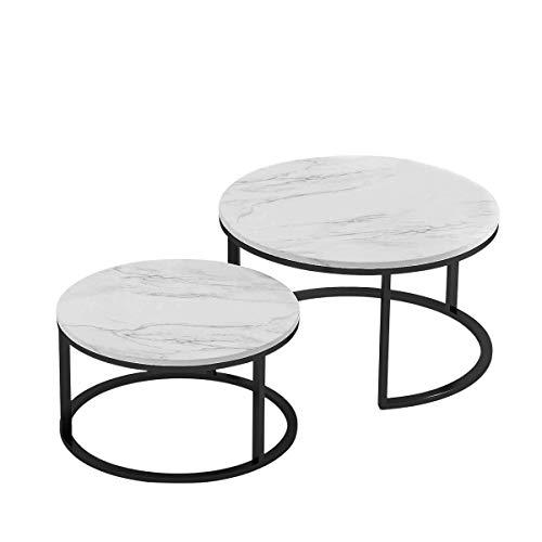 Rund Couchtisch 2er Set Marmormuster Glasplatte Schwarzer Rahmen Beistelltisch Moderner Nordischen Teetisch großem minimalistisch Hochwertiger Sofatisch für Wohnzimmer Terrasse Garten(Marmorfarbe)