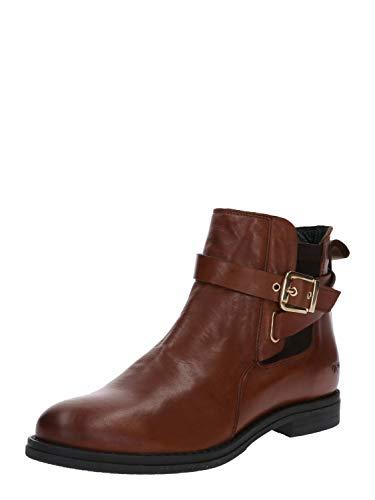 Buffalo Damen Stiefeletten Aqua Sky, Frauen Ankle Boots, elegant Women's Woman Freizeit leger Stiefel halbstiefel Bootie flach,Cognac,40 EU / 6.5 UK