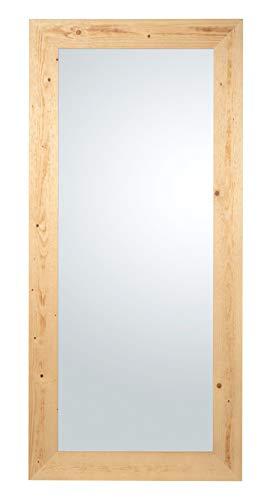 Espejo de pared o de pie con marco de madera Abeto acabado nogal claro naturale. Made in Italy. Tamaño externa cm. 85x185