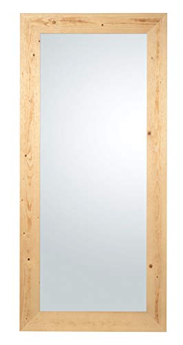 MO.WA Miroir grand mural avec cadre en bois sapin Finition noyer clair naturale cm. 85x185, vertical et Horizontal. Made in Italy.