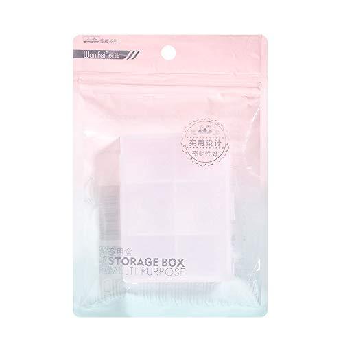 Kunststof doos, opbergdoos voor 6 dozen, transparante, bevroren assortimentsdoos, enkele verpakking, praktisch voor kleine accessoires en medicijnen. 0 2 stuks