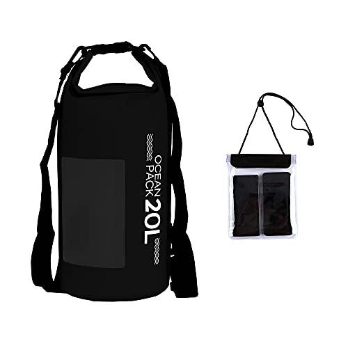 Bolsa impermeable de malla de PVC 500D para deportes acuáticos, kayak, barco, natación, kayak pequeño, impermeable, mochila para teléfono Ocean Pack con ventana