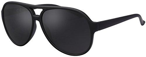 Sonnenbrille Herren Polarisiert La Optica UV400 Retro Pilotenbrille Fliegerbrille - Gummiert Schwarz (Grau Polarisierte Gläser)
