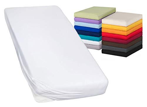 MOON-Luxury Spannbettlaken Spannbetttuch Jersey Stretch 230g/m² für Wasserbetten, Boxspringbetten und herkömmliche Matratzen (weiß, 120x200-120x220)