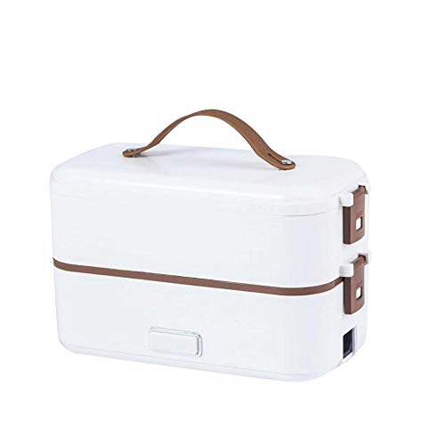 Fiambrera de doble capa Contenedor de comida Portátil Aislamiento de calefacción eléctrica Microondas Vajilla Contenedor de almacenamiento de alimentos Lonchera Plata