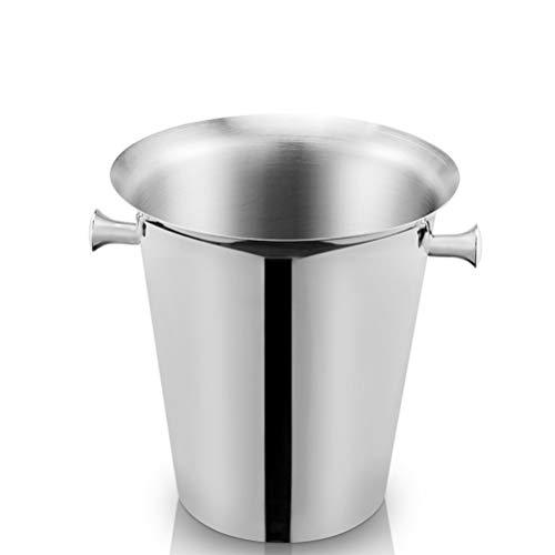 Cubo de hielo de metal de vino de acero inoxidable 5 L de gran capacidad, enfriador de vino botellas Champán cerveza Barril, fácil de transportar,Silver
